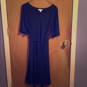 Short sleeve navy long dress